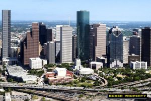 Aerial view of Houston highway